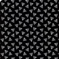 Harry Potter Deathly Hallows Logo Metallic Silver Hogwarts Magical Wizard Witch Cotton Fabric