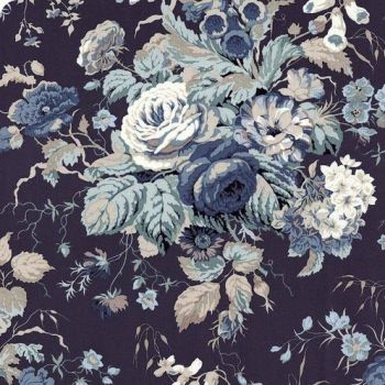 Sanderson Vintage Stapleton Park Blue Floral FreeSpirit Fabrics Cotton Fabric