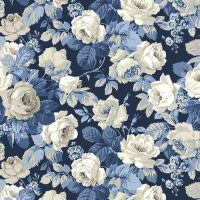 Sanderson Vintage Chelsea Blue Floral FreeSpirit Fabrics Cotton Fabric