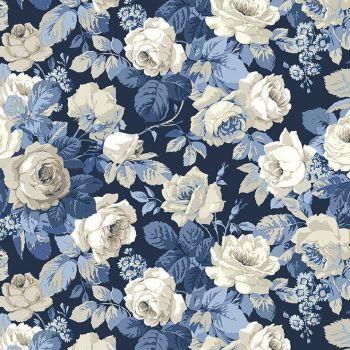 Sanderson Vintage Chelsea Blue Floral FreeSpirit Fabrics Cotton Fabric