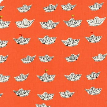 Heather Ross Far Far Away 2 Newspaper Boats in Red Orange Cotton Fabric