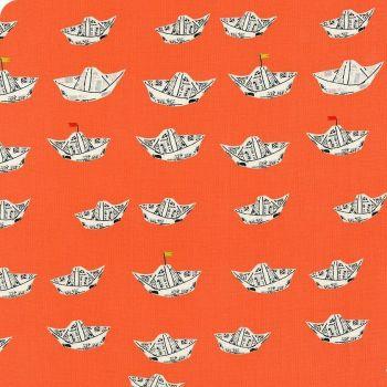 Heather Ross Far Far Away 2 Newspaper Boats in Red Orange Cotton Fabric