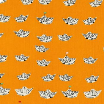 Heather Ross Far Far Away 2 Newspaper Boats in Orange Cotton Fabric