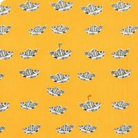 DESTASH 1.4m Heather Ross Far Far Away 2 Newspaper Boats in Yellow Cotton Fabric