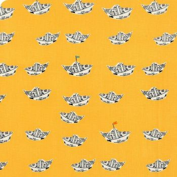 DESTASH 1.4m Heather Ross Far Far Away 2 Newspaper Boats in Yellow Cotton Fabric