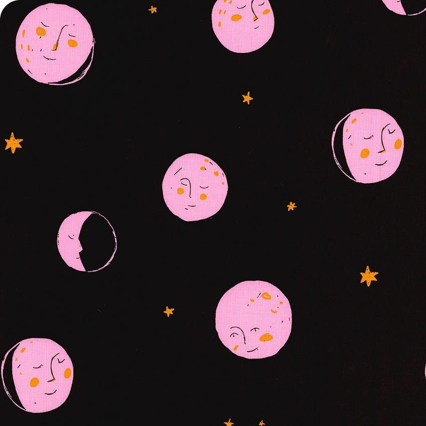 Heather Ross Far Far Away 2 Moons Dark Plum Cotton Fabric