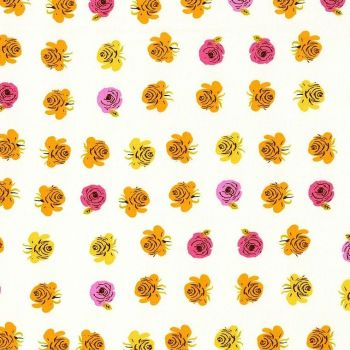 Heather Ross Far Far Away 2 Roses Pink Cotton Fabric