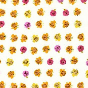 Heather Ross Far Far Away 2 Roses Pink Cotton Fabric