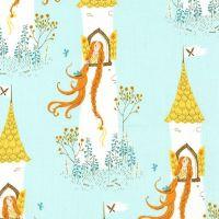 Heather Ross Far Far Away 2 Rapunzel Aqua Cotton Fabric