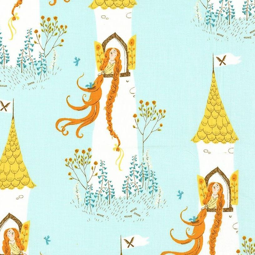Heather Ross Far Far Away 2 Rapunzel Aqua Cotton Fabric