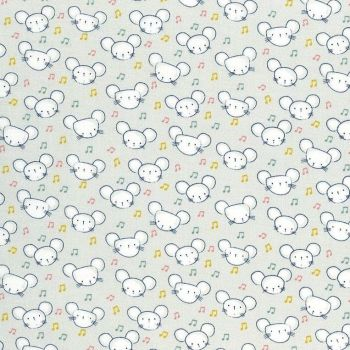 Shine Bright Mouse Heads Ghost Musical Notes Mice Music Dear Stella Cotton Fabric