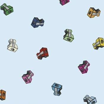 PRE-ORDER Pencil Club Sharpeners in Azure Heather Givans Stationery Pencils Cotton Fabric