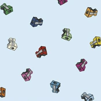 Pencil Club Sharpeners in Azure Heather Givans Stationery Pencils Cotton Fabric