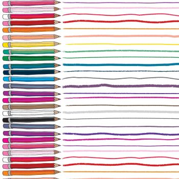 Pencil Club Double Border in ROYGBIV Heather Givans Stationery Pencils Cotton Fabric