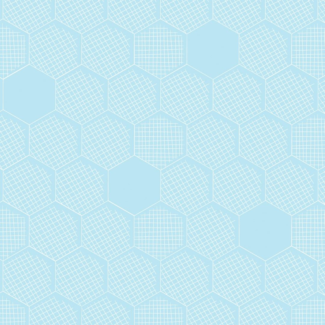 Great British Quilter Back to Basics Honeycomb Hexies Hexagon Powder Blue S