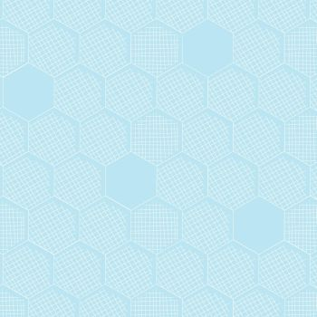 FABruary DESTASH 2 Metre Great British Quilter Back to Basics Honeycomb Hexies Hexagon Powder Blue Sarah Ashford Cotton Fabric