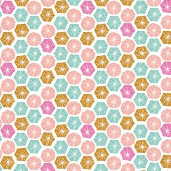 DESTASH 3.87m Summer Dance Geometric Hexagons Circles Discs Hexies Shapes Cotton Fabric