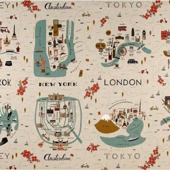 RARE Rifle Paper Co Les Fleurs City Maps Travel Natural Cotton Linen Canvas Fabric per 60cm Panel
