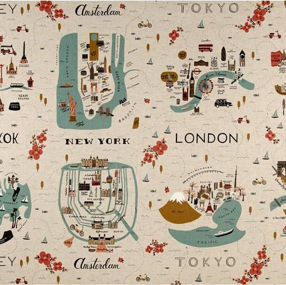 RARE Rifle Paper Co Les Fleurs City Maps Travel Natural Cotton Linen Canvas