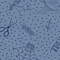Almost Blue Draw Vintage Tattoo Sketch Libs Elliott Cotton Fabric