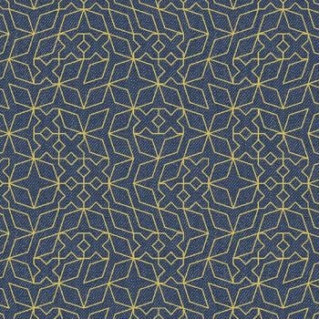 Almost Blue Stitch Indigo Metallic Libs Elliott Cotton Fabric