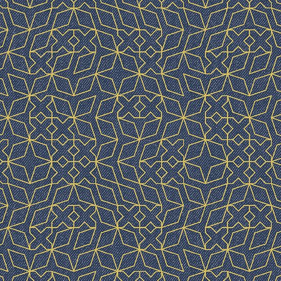 PRE-ORDER Almost Blue Stitch Indigo Metallic Libs Elliott Cotton Fabric