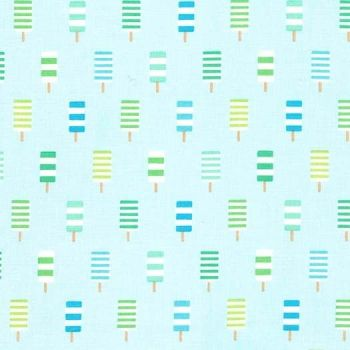 DESTASH 1 Metre So Cool Ice Lolly Icing Blue Ice Cream You Scream Popsicle Cotton Fabric