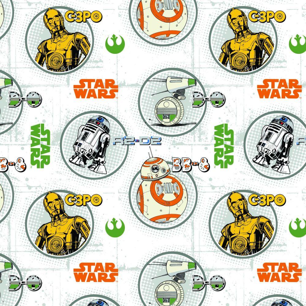 Disney Star Wars Droid Circles C-3P0 R2-D2 BB-8 Droids Portraits Cotton Fab