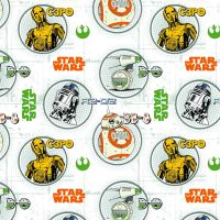 Disney Star Wars Droid Circles C-3P0 R2-D2 BB-8 Droids Portraits Cotton Fabric