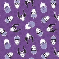 Disney Villains Heads Toss Purple Malificent Evil Queen Ursula Cotton Fabric