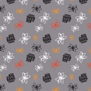 The Big Bang Theory Atoms Grey Logo Toss Sheldon Cooper Nerd Geek Science TV Show Cotton Fabric