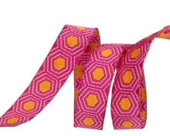 Tula Pink Tiny Gold Tortoise Dots Pink Hexagon Hexies Ribbon by Renaissance Ribbons per yard