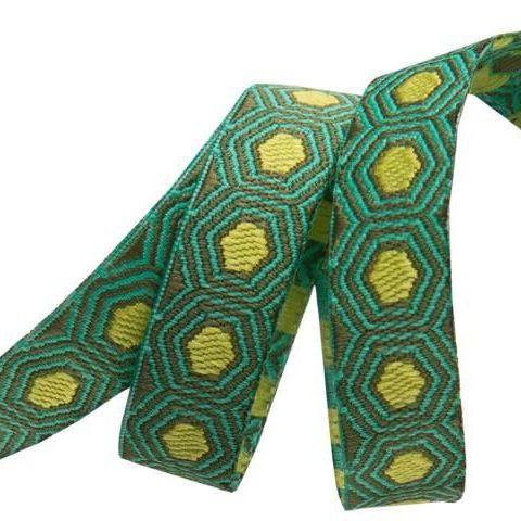 Tula Pink Tiny Yellow Tortoise Dots Green Hexagon Hexies Ribbon by Renaissa
