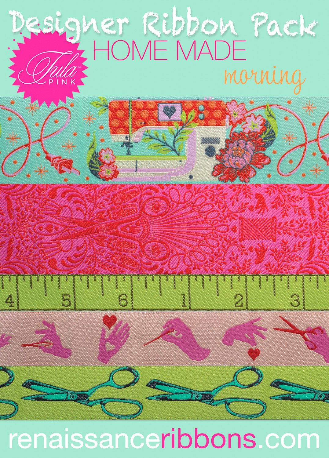 PRE-ORDER Tula Pink HomeMade Morning 5 Yard Designer Ribbon Pack Renaissanc