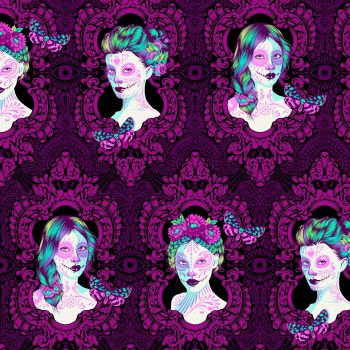 PRE-ORDER RARE Possessed in Clairvoyant Tula Pink De La Luna Faces LARGE SCALE Cotton Fabric