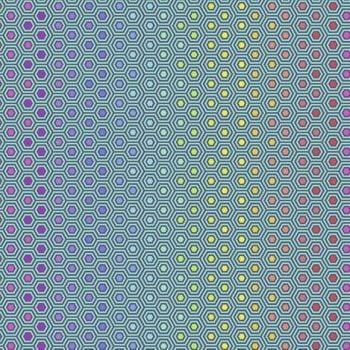 Tula Pink True Colors Hexy Rainbow Peacock Ombre Hexagon Spot Cotton Fabric