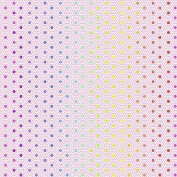 Tula Pink True Colors Hexy Rainbow Shell Ombre Hexagon Spot Cotton Fabric