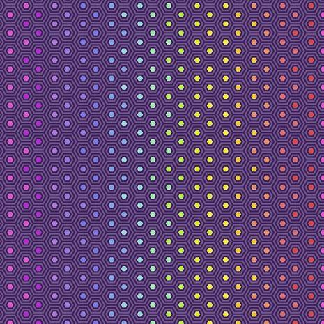 PRE-ORDER Tula Pink True Colors Hexy Rainbow Starling Ombre Hexagon Spot Co