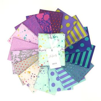 PRE-ORDER True Colors Tula Pink Peacock 16 Fat Quarter Bundle Cotton Fabric Cloth Stack Full Collection