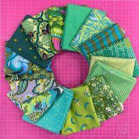 LIMITED EDITION Tula Pink Shades of Green 15 Fat Quarter Bundle Cotton Fabric Cloth Stack 1 yard Ribbon