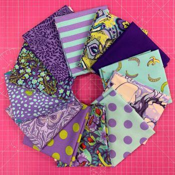 LIMITED EDITION Tula Pink Shades of Purple 12 Fat Quarter Bundle Cotton Fabric Cloth Stack 1 yard Ribbon