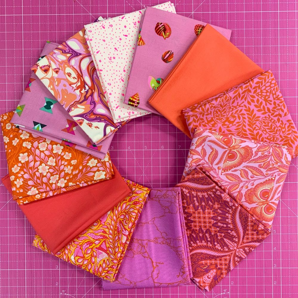 LIMITED EDITION Tula Pink Shades of Pink 12 Fat Quarter Bundle Cotton Fabri