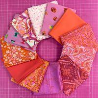LIMITED EDITION Tula Pink Shades of Pink 12 Fat Quarter Bundle Cotton Fabric Cloth Stack 1 yard Ribbon