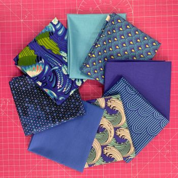 LIMITED EDITION Tula Pink Shades of Blue 8 Fat Quarter Bundle Cotton Fabric Cloth Stack 1 yard Ribbon