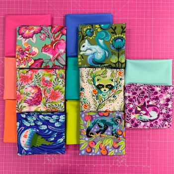 LIMITED EDITION Tula Pink Creature Couples 14 Fat Quarter Bundle Cotton Fabric Cloth Stack 1 yard Ribbon
