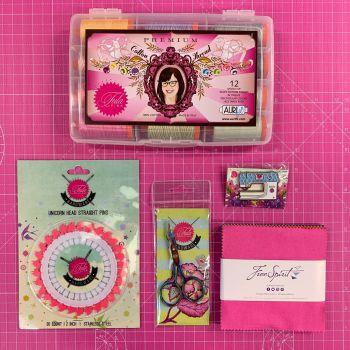 LIMITED EDITION Tula Pink Sewing Machine Enamel Pin Hardware Essentials Bundle