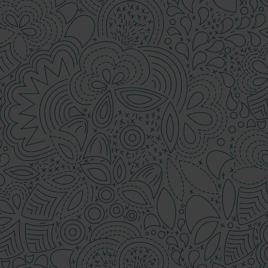 Sun Print 2020 Stitched Night Floral Charcoal Grey Geometric Alison Glass C
