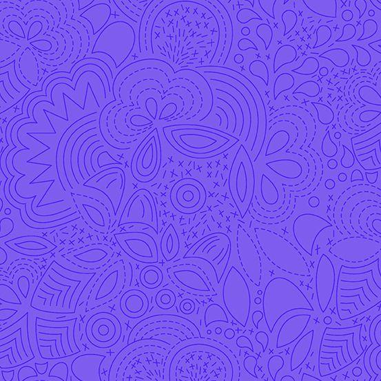 Sun Print 2020 Stitched Liberty Blue Floral Geometric Alison Glass Cotton F