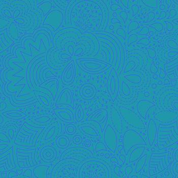 Sun Print 2020 Stitched Peacock Blue Floral Geometric Alison Glass Cotton Fabric