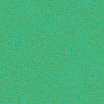 Sun Print 2020 Stitched Grasshopper Green Floral Geometric Alison Glass Cotton Fabric